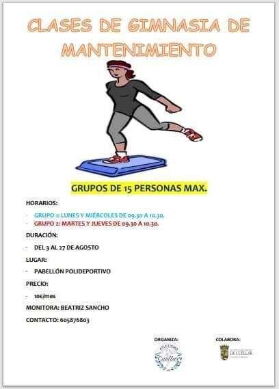 Clases De Gimnasia De Mantenimiento Y Clases De Pádel Ayuntamiento De Cuéllar